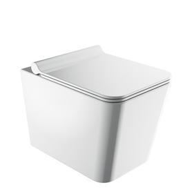 BOSTON miska toaletowa wisząca bezkołnierzowa z deską, 53x36cm, biały połysk   BOSTONMWBP