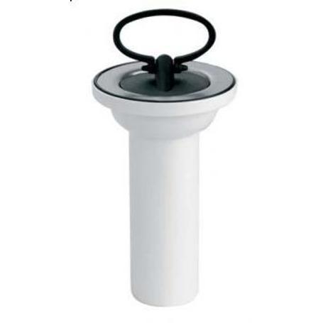 """Spust umywalkowy 11/4""""x60mm z sitkiem ze stali nierdzewnej i korkiem gumowym"""