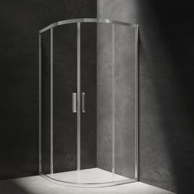 CHELSEA kabina półokrągła, drzwi przesuwne, 90cm, chrom/transparentny     NDF90XCRTR