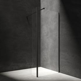 MARINA kabina walk-in, ścianka boczna, 120x30cm, czarny/transparentny     MA1230BLTR