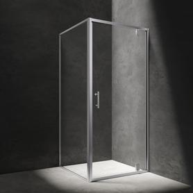 S kabina kwadratowa, drzwi uchylne, 90x90cm, chrom/transparentny     S-90KCRTR