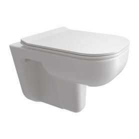 DENVER miska toaletowa wisząca bezkołnierzowa z deską, 54,5x35cm, biały połysk   DENVERMWBP