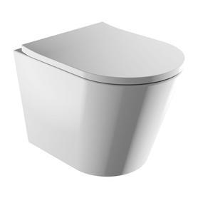 TAMPA miska toaletowa wisząca bezkołnierzowa z deską, 51,5x35,5cm, biały połysk   TAMPAMWBP