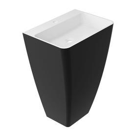 PARMA umywalka wolnostojąca Marble+, 55x43cm, biały/czarny połysk      PARMAUWBCP