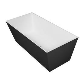 LONDON wanna Marble+, 175,5x79,5x61cm, biały/czarny połysk       LONDON175BCP