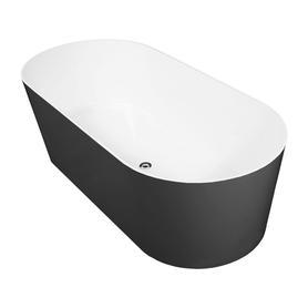MONACO wanna Marble+, 181x85x60cm, biały/czarny połysk       MONACO181BCP