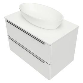 OMNIDREAM blat, umywalka Marble+ SIENA L, 76x46cm, biały połysk    DREAMSET7620BP