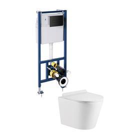 podtynkowy zestaw WC TAMPA Biały połysk/Czarny mat TAMPASLSETBPBL