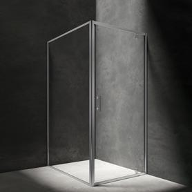 S kabina prostokątna, drzwi uchylne, 80x100cm, chrom/transparentny     S-80/100KCRTR