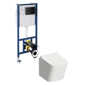 FONTANASETBPBL podtynkowy zestaw WC z miską i deską FONTANA, biały/czarny