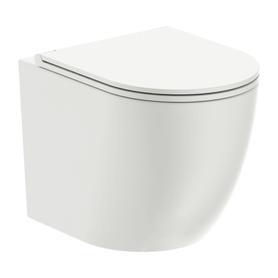 OTTAWA miska toaletowa wisząca bezkołnierzowa z deską, 49x37cm, biały połysk   OTTAWAMWBP