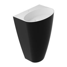 SIENA umywalka wolnostojąca Marble+, 55x43cm, biały/czarny połysk      SIENAUWBCP