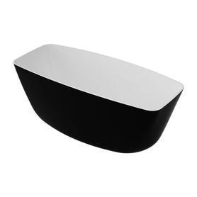 FERRARA wanna Marble+, 156,5x70x58cm, biały/czarny połysk       FERRARA156BCP