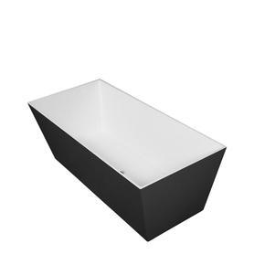 LONDON wanna Marble+, 159,5x65,5x55cm, biały/czarny połysk       LONDON159BCP