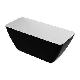 PARMA wanna Marble+, 159x70,5x62cm, biały/czarny połysk       PARMAWWBCP