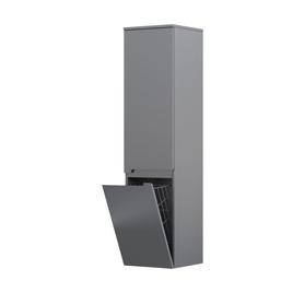 SILVER-Szafka wysoka boczna 35 cm, KOSZ dwoje drzwi, kolor: SZARY MAT,lewa
