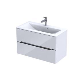SILVER-Szafka podumywalkowa 90 cm,dwie szuflady, kolor: biały połysk,