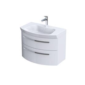 FLOW - Szafka wisząca 80 cm pod umywalkę dwie szuflady, kolor: biały połysk,