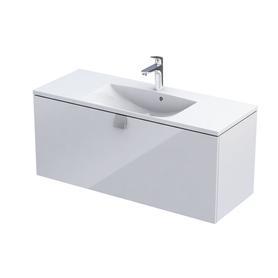 BOLD-Szafka podumywalkowa 120 cm, jedna szuflada, kolor: biały połysk, OR46-SD1S-120-1-SW