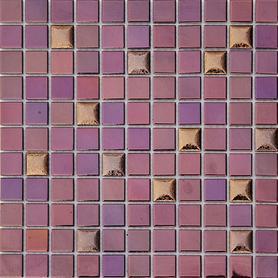 Moz cer 30x30 Bohemian Porto kwadraty fioletowy brąz /15