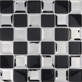 Moz szkl metal 30x30 Zaria czarno-srebrne kwadraty /14