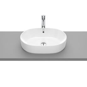 GAP umywalka ceramiczna nablatowa owalny bez otworu z przelewem 550 x 390 mm biała z zestawem mocującym