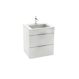 Unik Suit zestaw łazienkowy 550 x 422 x 620 mm biała połysk szafka z 2 szufladami, z umywalką 55 cm, z otworem na baterię