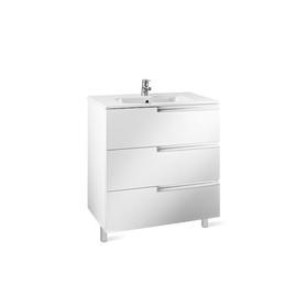 Victoria-N Family Unik zestaw łazienkowy 605 x 460 x 740 mm biały połysk zawiera: szafka z 3 szufladami z umywalką 60 cm, z otwo