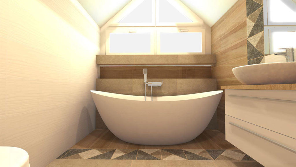 łazienka na poddaszu z wanną, wanny wolnostojące
