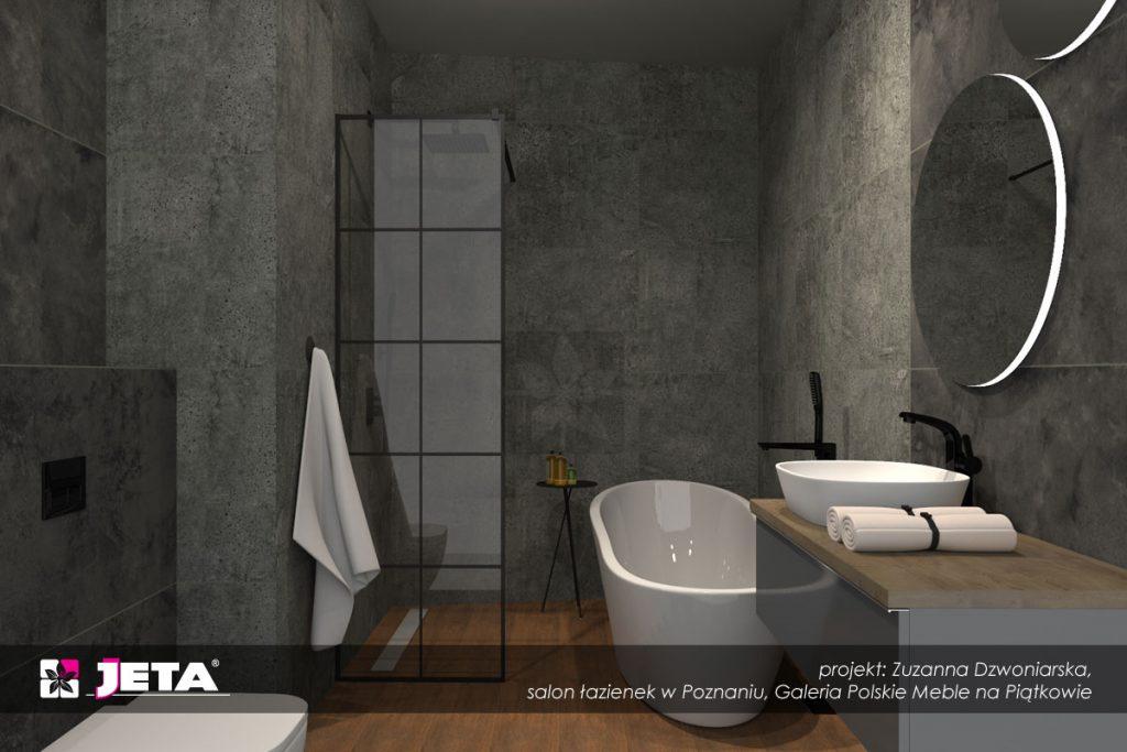 grafitowa łazienka, łazienka 6 m2, płytki Opoczno