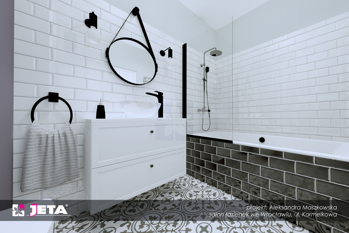 klasyczne kolory w łazience
