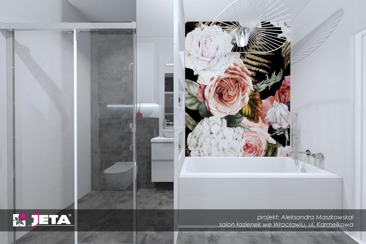 motyw kwiatowy w łazience