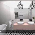 różowy akcent w łazience