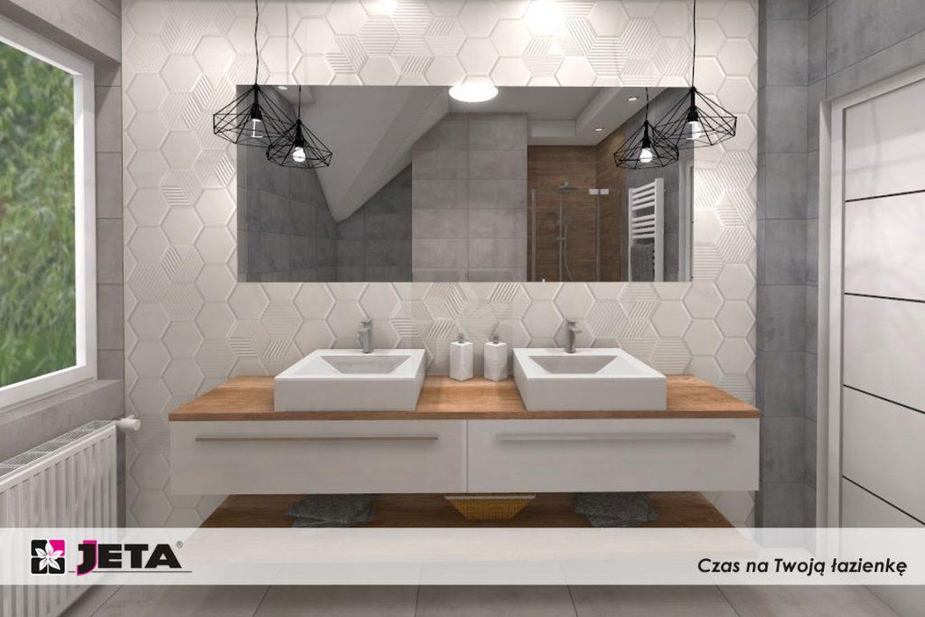 szafki łazienkowe, heksagony w łazience
