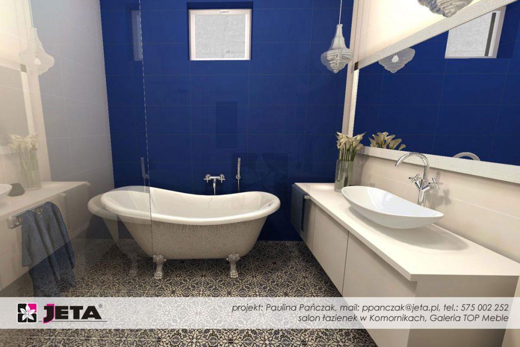 łazienka w kolorze kobaltowym