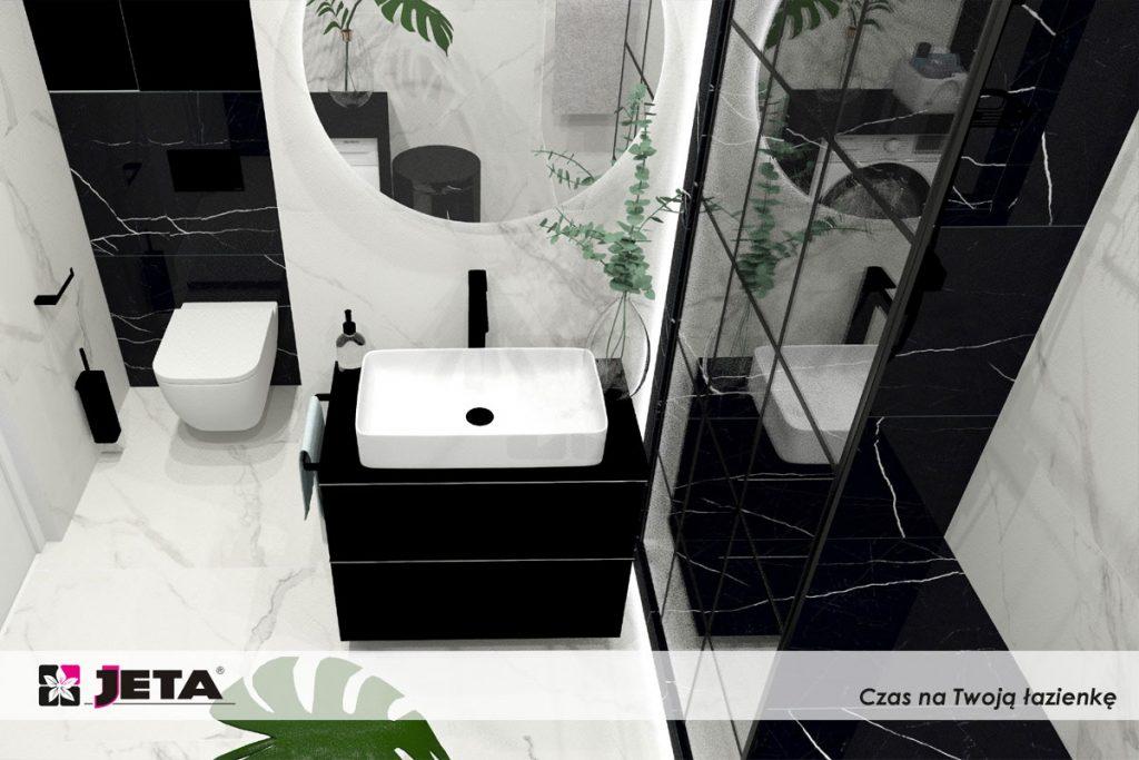 calacatta w łazience, biały mrmur na podłodze, biały marmur na ścianie