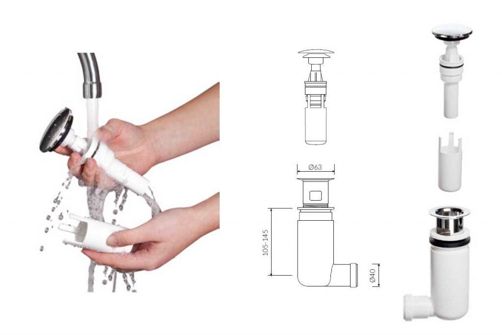 odpływ umywalki, syfon odpływ umywalkowy, syfon odpływowy Marmorin