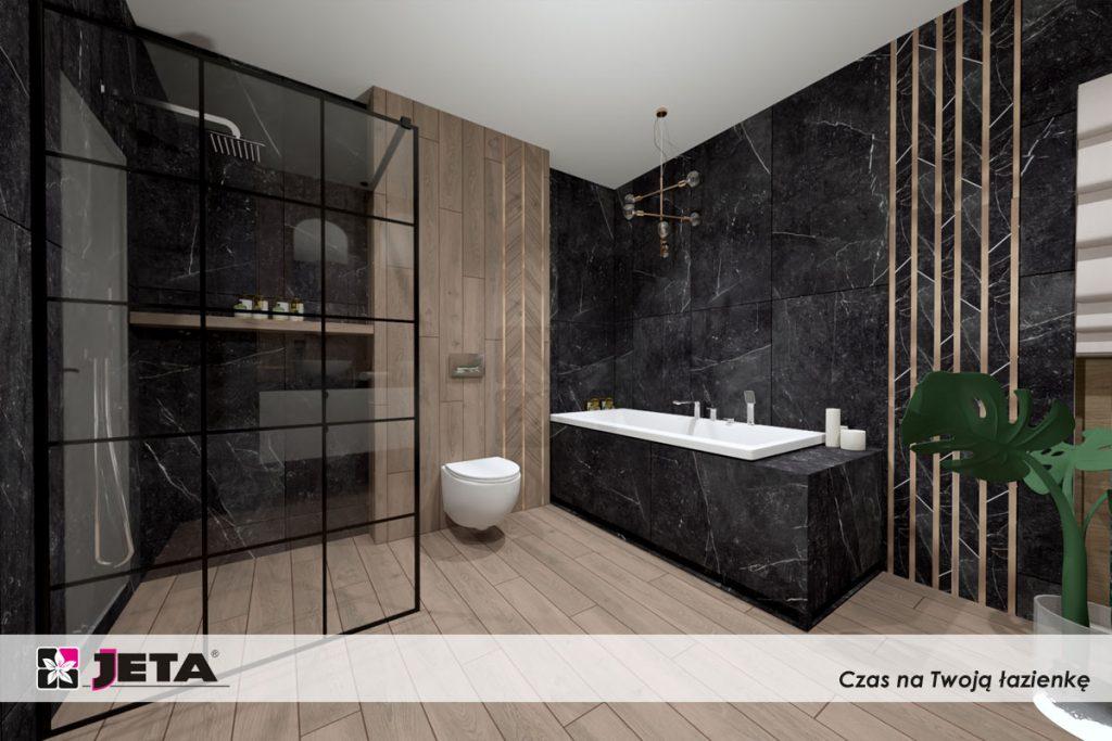 drewno i czerń w łazience
